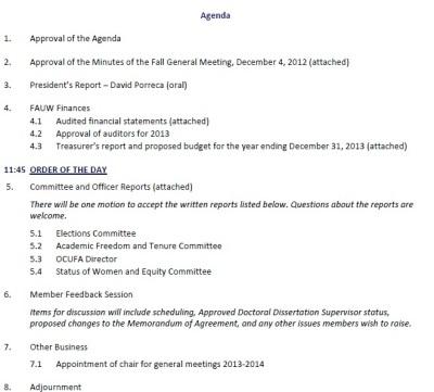 FAUW Spring General Meeting Agenda