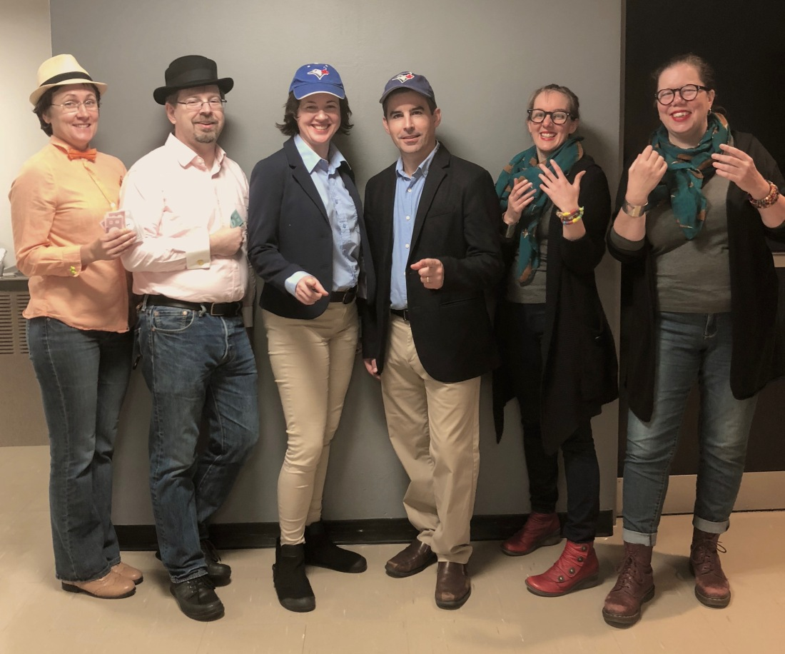 FAUW staff members dressed as FAUW executive officers, and their real counterparts dressed in the same clothing.
